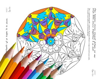 Adult Coloring Mandala, Drawing Coloring Antistress for Relaxation, Letter or A4, Bilingual Inspirational Text, to Download, Print and Color