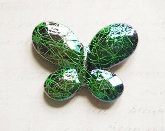Beautiful large Butterfly 45x34x7mm green sparkly acrylic beads
