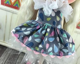 Blythe Tutu Dress Set - Pastel Raindrops