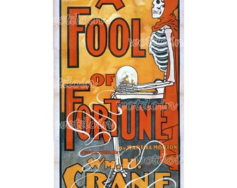 Fool of Fortune Theater Playbill or Program Vintage Skeleton Crystal Ball Printable Instant Download