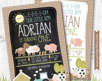 Farm First Birthday Invitation, Barnyard 1st Birthday Party, DIGITAL Invitation, ANY AGE, 2 options