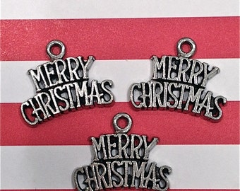 Merry Christmas Charms--4 pieces-(Antique Pewter Silver Finish)--style 1008
