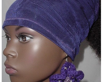 Natural Hair Accessories-Headband-Tube-Dreadlocks-Headwrap - Head Wrap - Locs-Purple