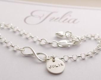 Name bracelet infinity 925 Silver communion bracelet gift