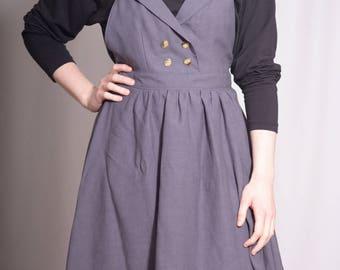 Olivia jumper dress / Free Shipping / pinafore dress / grey jumper / full skirt / exposed zipper / jumper skirt / pinafore skirt / grey dres