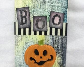 Boo!  Pumpkin Mini Canvas Mixed Media Halloween