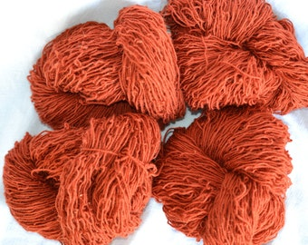 Super price for rust wool rug yarn.  Four skeins, 1.6 pounds, approximately 1000 yards.