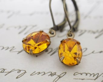Amber Topaz Swarovski Crystal Rhinestone Vintage Oval Earrings