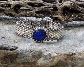 Free Form Peyote Stitch Beaded Skinny Bracelet  - Bead Weaving  - Lapis Cabochon  - Silver Galvanized