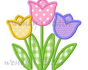 Tulip applique tulips machine embroidery design