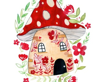 Toadstool House Print