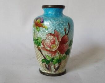 """Vintage Japanese Ginbari Cloisonne Petite Vase 2.5"""""""
