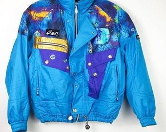 Vintage ASICS SUPER ACTION  Ski Snow Arctic Jacket Multi Colour