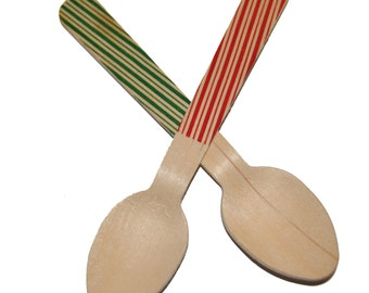 """5.5"""" Wooden Disposable Holiday Spoons ( Pack of 24)"""