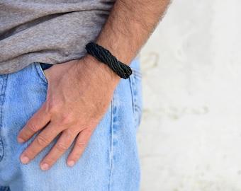 Tribal bracelet For Men, Gift For Boyfriend, Black Green Bracelet, Boho Jewelry, Hippie Bracelet, Armbänder, Bracelet Homme, Black bracelet