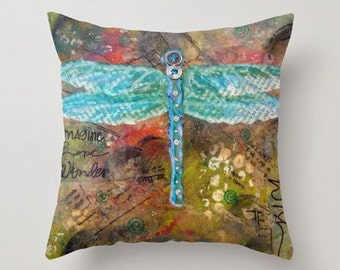 DRAGONFLY,  Free Spirit Art, Throw PILLOW, Mixed media art, Nature Art, home decor, pillow, collage art, mixed media artist, Alicia J Hayes