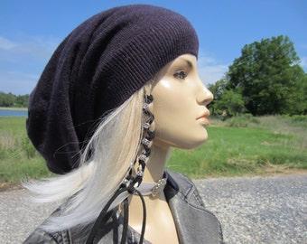 Cashmere Hat Slouchy Beanie 8 Colors! Purple Plum 100% Pure Cashmere Sweater Knit Slouch Tam Women's Bohemian Clothing A1717