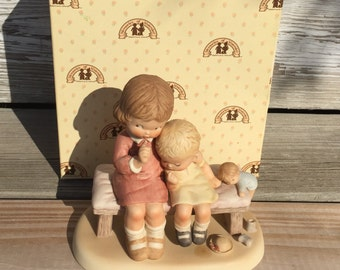 Vintage Porcelain Figurine Mabel Lucie Attwell Boy and Girl on Bench Memories of Yesterday