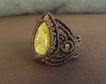 Macrame Ring, Gold Rutilated Quartz Ring