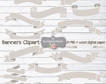 Rustic banner clipart, wood clipart banners, digital ribbon, labels, Digital Ribbons, Clipart Banners, Rustic