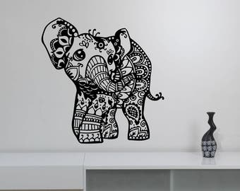 Cute Indian Elephant Wall Decal Bohemian Animal Pattern Vinyl Sticker Boho Ornament Art Decorations for Home Bedroom Yoga Room Decor ie2