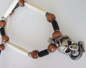 Skull Necklace, Skull Pendant Jewelry, Tribal Beaded Jewelry, Goth Necklace, Silver Pewter, Beaded Leather Necklace