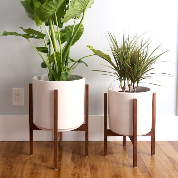 Large Mid Century Modern Cylinder Planter With Walnut Or Oak