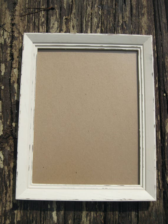 10x13 distressed white frame with glass. 10 x 13 up cycled hand ...