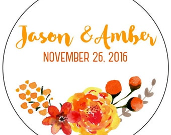 fall wedding stickers, fall watercolor flower wedding stickers, custom fall flower wedding labels, orange flower bridal shower stickers