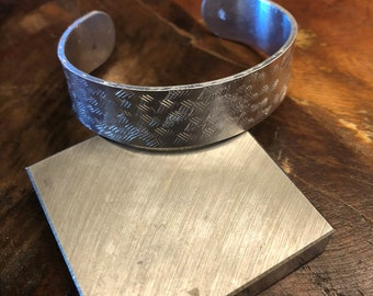 Hand stamped silver wrap bracelet