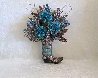 Cowboy Boot Vase with Turquoise Dahlias, Silk Flower Arrangement, Rustic Home Decor, Floral Arrangement, Western Flower Decor