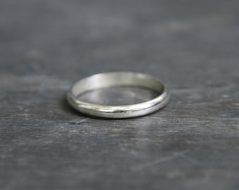Rounded Silver Ring - Recycled Sterling Silver Wedding Band - Silver Wedding Ring - Men or Women - Eco Friendly Unisex Band - 2mm Band