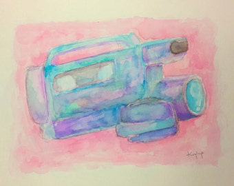 Video Camera - VHS Camcorder Watercolor Painting