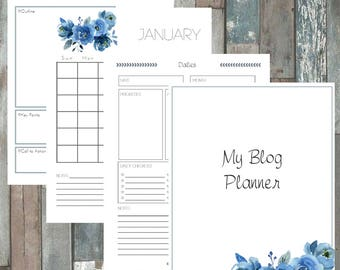 Blogging Planner, Blog Printables *Blogging, Social Media, Blog Organizer, Business Organizer*