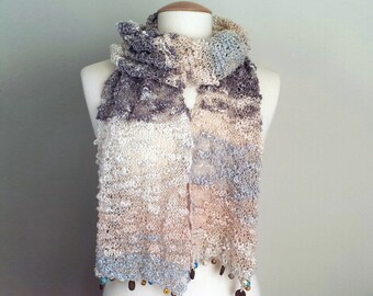 Hand Knit Light Scarf, Multicolor Knit Scarf, Multicolor Skinny Scarf, Light Brown Scarf, Lace Summer Scarf With Beads