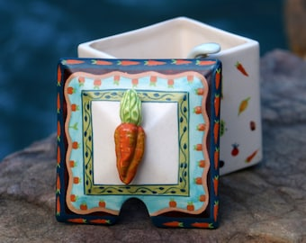 Carrot Jelly Pot - Ceramic Veggie Relish Jar - Vegetarian Gift - Veggie Lover Gift - Vegetable Relish Jar - Live in Moment Vintage