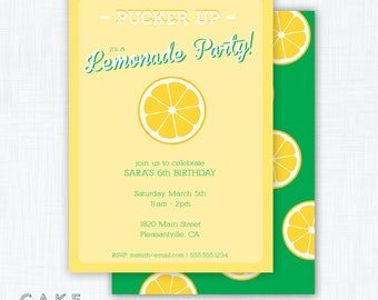 "Lemonade Stand Printable Party Invitation ""Pink Lemonade Party"""