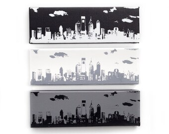 Philadelphia Skyline Canvas: Monochrome Trio (12 x 4 inches each, Black, White, & Gray) Cityscape Screen Print and Painting Home Decor