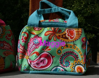 Girls Monogrammed Lunch Bag Paisley Bird Aqua Trim Insulated Personalized Lunch Tote