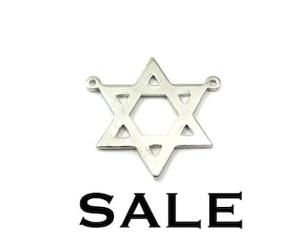 Rhodium Plated Jewish Start of David Pendants (4X) (V289-A) SALE - 25% off