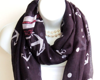 Nautical Anchor Infinity Scarf. Navy Blue,White,Red Scarves. Summer scarves. Summer Scarf. Summer Infinity Scarf. Beach Scarf. Anchor Scarf