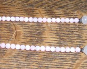 Pink and Sterling Beaded Necklace