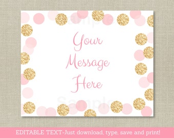 Pink & Gold Glitter Baby Shower Welcome Sign / Glitter Dots Baby Shower / Blush Pink / Gold / Instant Download Editable PDF A225