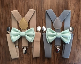 Suspender & Bow tie Set/ Mint Bow tie/ Mint and White Bow tie/ Mint Bowtie  / Tan Suspenders/ Gray Suspenders/ Mint/ Mint Wedding