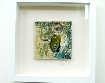 Textile Art Mixed Media Ceramic and Textile Picture Wall Art Framed Picture Abstract Paintings Contemporary Art Unique Artwork Home Decor