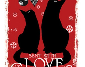 With Love christmas cat card