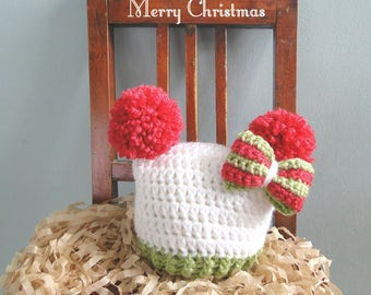 Christmas Hat,  Baby Girl Christmas Hat, First Christmas, Photo Prop, Take Home Hat, New Baby Gift, Baby Girl Gift, Hat with Bow, Ships Fast