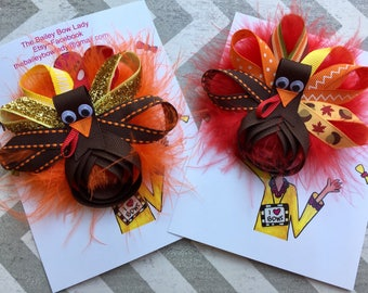 Turkey Hair Bow-Thanksgiving Hair Bow-Turkey Sculpture Hair Bow