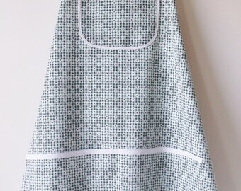 Green & White Gingham with Flowers Bib Apron  #2004