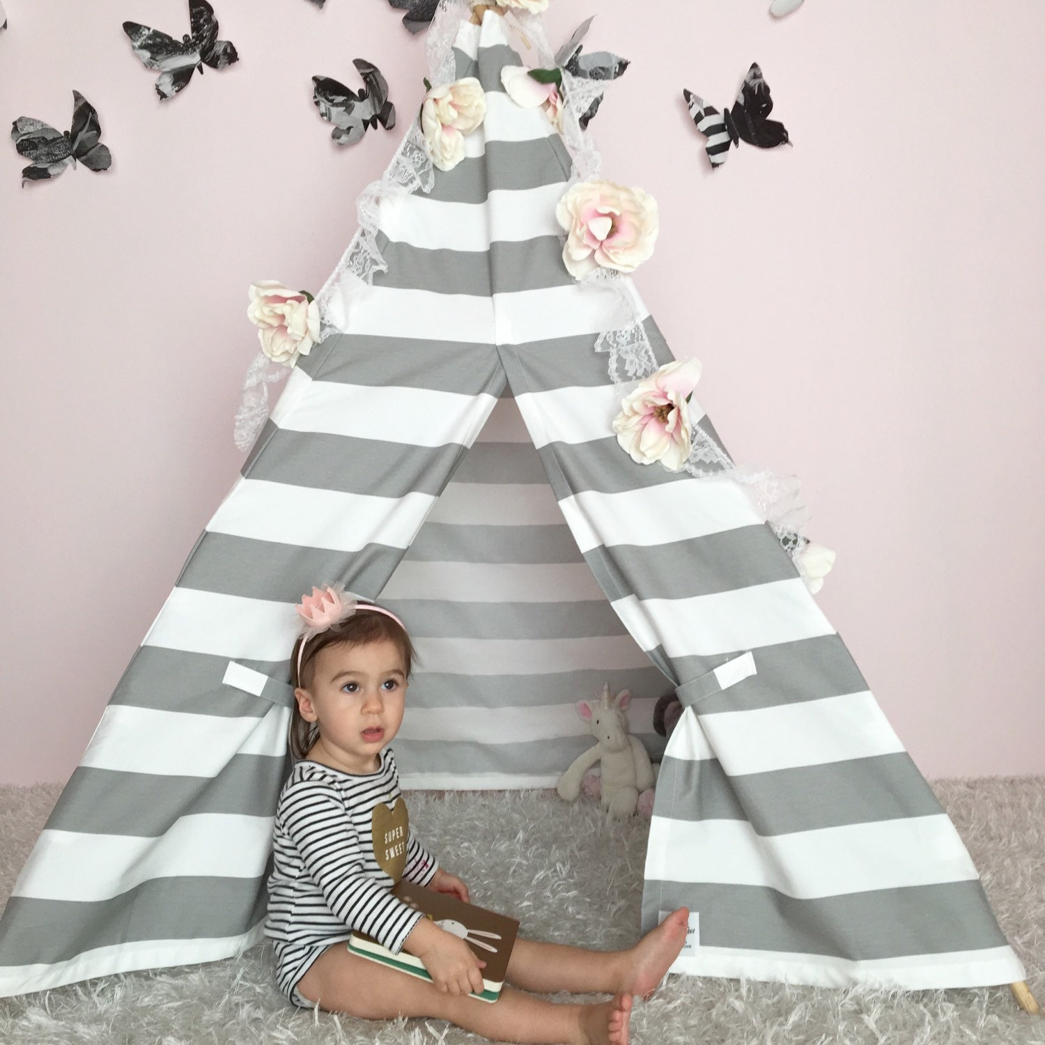 ?zoom  sc 1 st  Etsy & Kids Teepee Tent Grey Stripe boys teepee girls teepee
